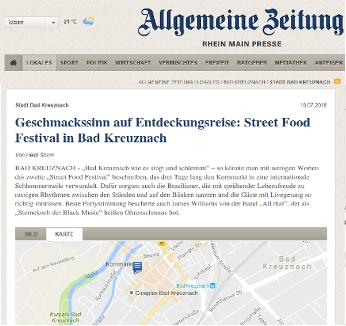 Allgemeine Zeitung - Geschmackssinn auf Entdeckungsreise - Street Food Festival in Bad Kreuznach
